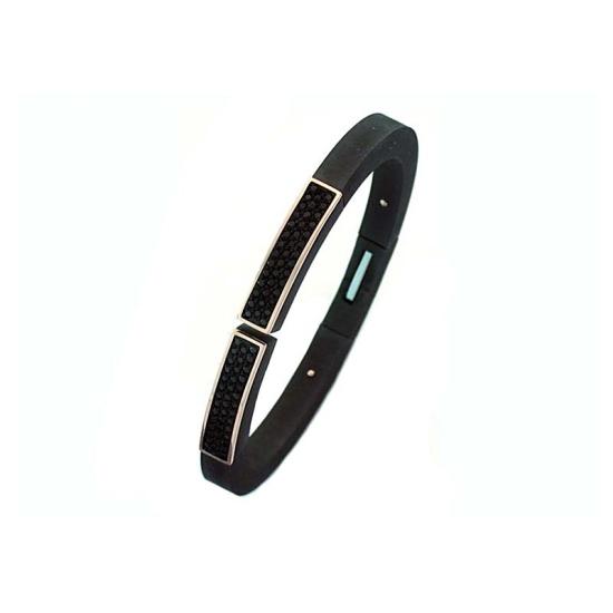 Pulsera Pesavento lúcida-opaca en negro con ónix - 1