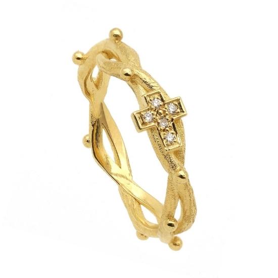 Sortija rosario en oro amarillo con diamantes - 0950