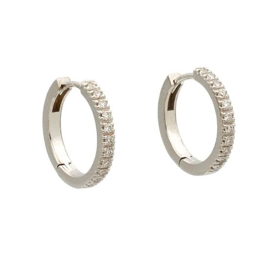 Pendientes de oro blanco con diamantes en forma de aro - 1186 - 1