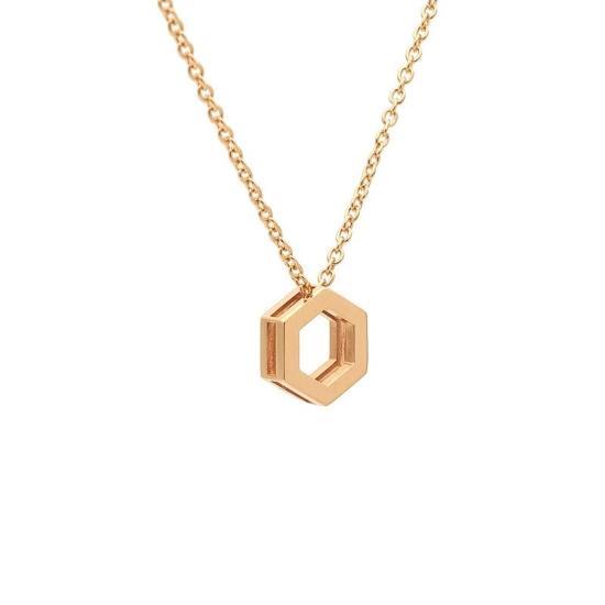 Colgante hexagonal en oro rosa con cadena - 0983