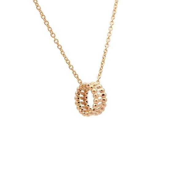 Colgante doble círculo de bolitas en oro rosa con cadena - 0985
