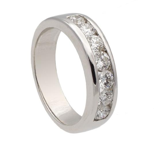 Sortija con siete diamantes en carril - 1