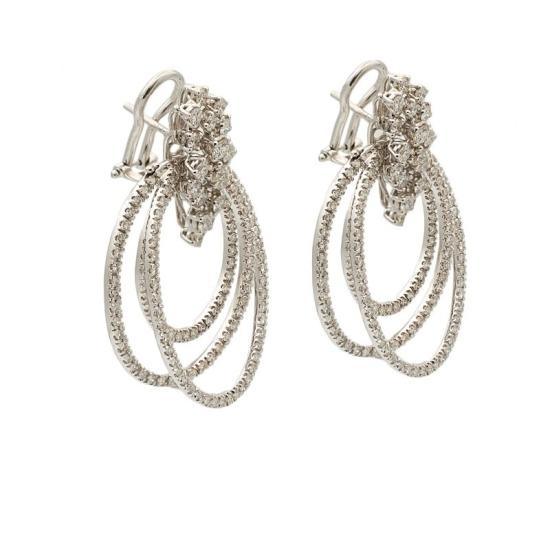 Pendientes de tres aros de diamantes - 0383