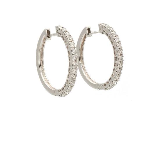 Pendientes criolla en oro blanco con diamantes - 0048