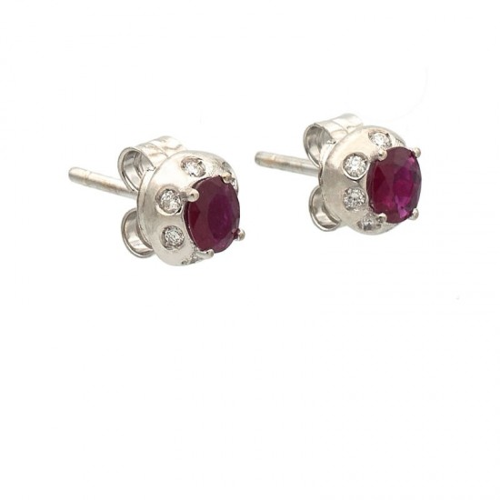 Pendientes de oro blanco con diamantes y rubíes - 0992 - 1