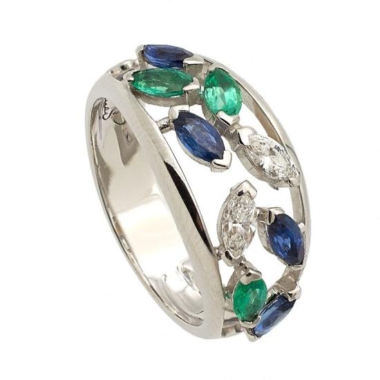 Sortija calada con diamantes, zafiros y esmeraldas - 0909