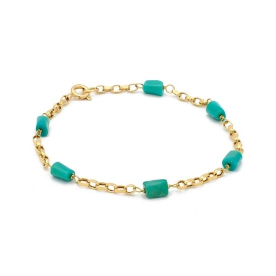 Pulsera de oro con perlitas de turquesas - 0318 - 1
