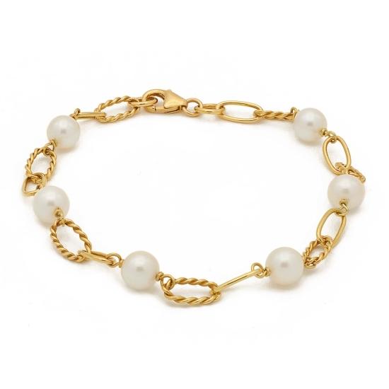 Pulsera de oro con perlitas - 0300