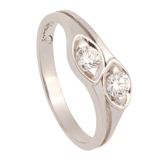 Sortija de oro blanco y dos diamantes - 0948 - 1