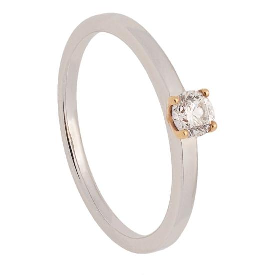 Solitario de oro blanco y diamante - 0060 - 1