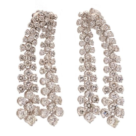 Pendientes de diamantes de doble caida - 0436 - 1