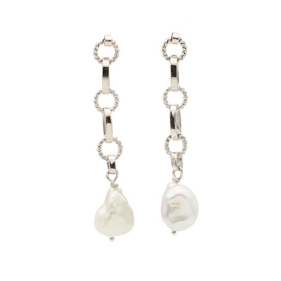 Pendientes largos con perlas cultivadas - 0386 - 1