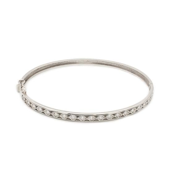 Pulsera rígida de oro blanco y diamantes - 1143 - 1
