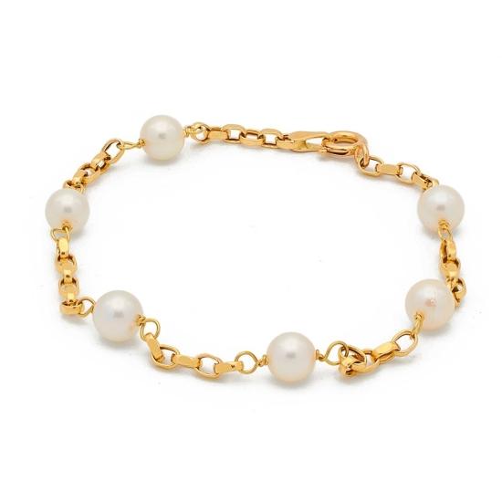 Pulsera de oro con perlitas - 0317 - 1