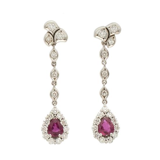 Pendientes largos con diamantes y rubíes - 1111 - 1