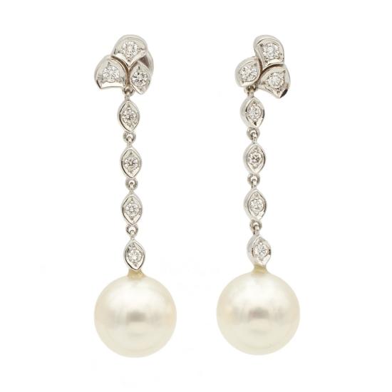 Pendientes largos con diamantes y perlas australianas - 0658 - 1