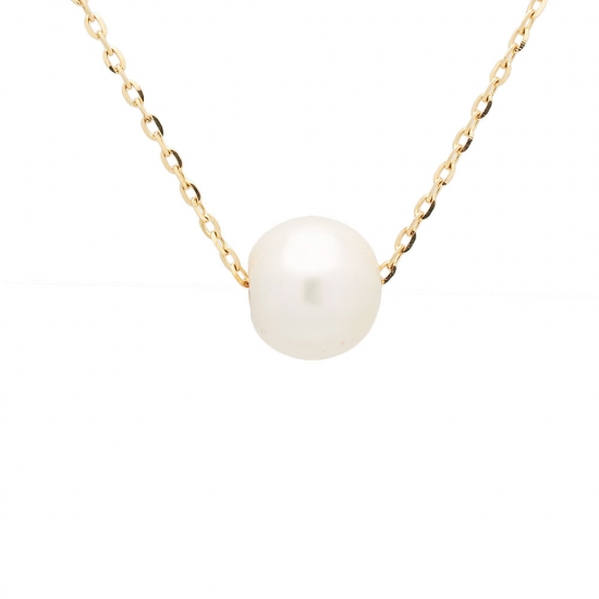 Colgante con perla cultivada y cadena gruesa de oro amarillo - 1