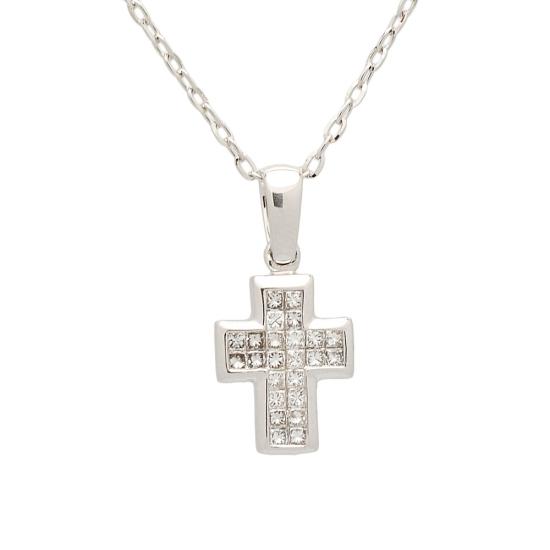 Cruz y cadena de oro blanco con diamantes - 1