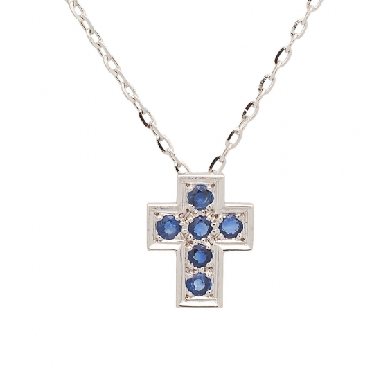Cruz y cadena de oro blanco con zafiros - 1