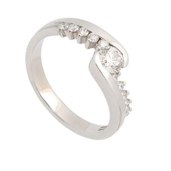 Sortija cruzada de oro blanco y diamantes - 1185 - 1