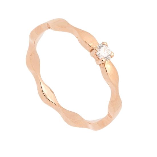 Sortija onda en oro rosa y diamante - 1