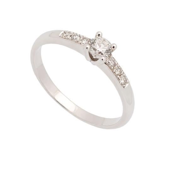 Sortija de oro blanco y diamantes - 0947 - 1