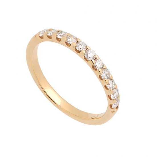 Media alianza fina de oro amarillo y diamantes - 1090 - 1
