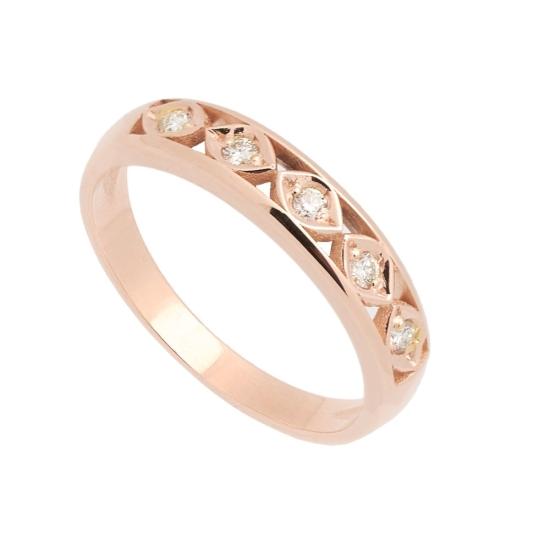 Sortija en oro rosa y diamantes - 1188 - 1