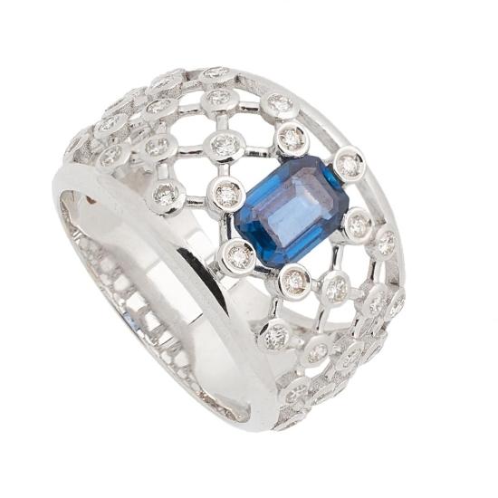 Sortija de Zafiros y Diamantes - 1241 - 1