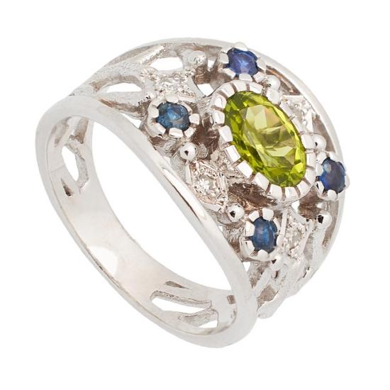 Sortija con Peridoto central, Zafiros y Diamantes - 0739 - 1