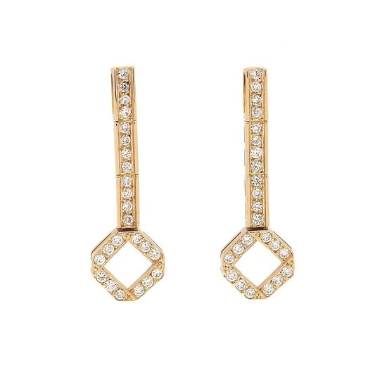 Pendientes largos de oro amarillo con diamantes - 2