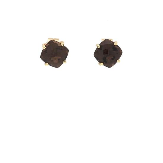 Pendientes cuadrados de oro amarillo y cuarzo fumé - 1