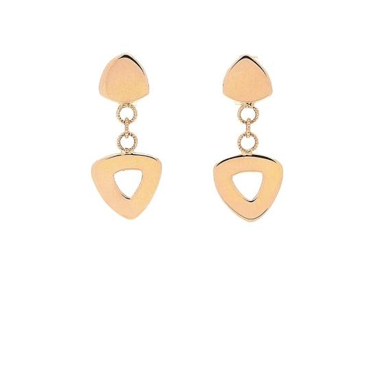 Pendientes de oro rosa y forma triangular - 1