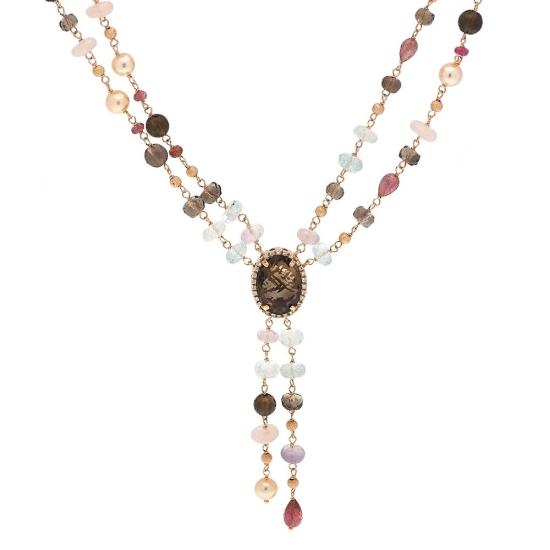 Gargantilla de oro rosa, cuarzo fumé y diamantes - 1