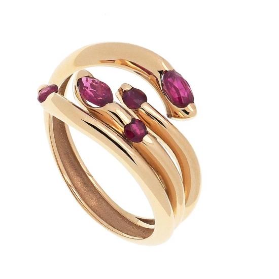 Sortijas multibrazo de oro y rubíes - 1
