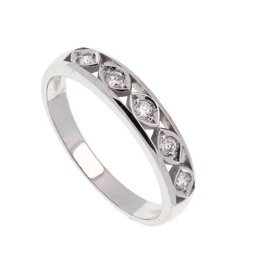 Sortija de oro blanco y cinco diamantes - 1