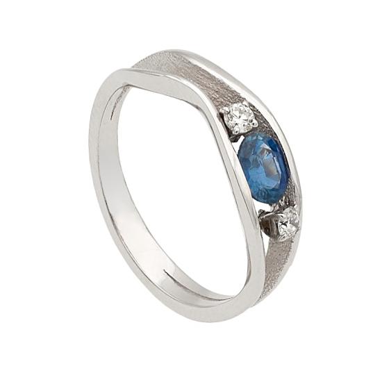 Sortija con zafiro y diamantes - 1