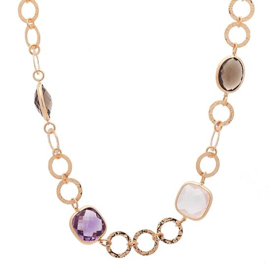 Gargantilla de oro rosa con piedras de color - 1