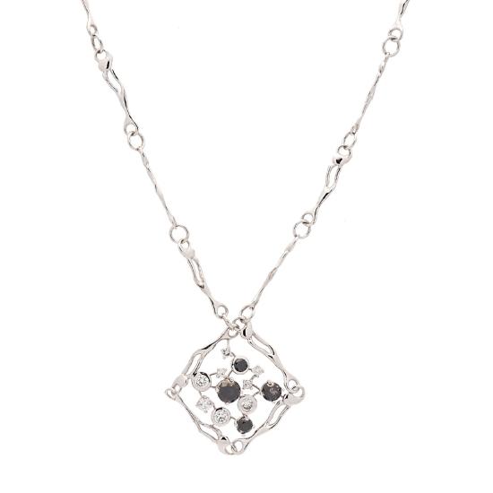 Gargantilla de diseño exclusivo con diamantes blancos y negros - 1
