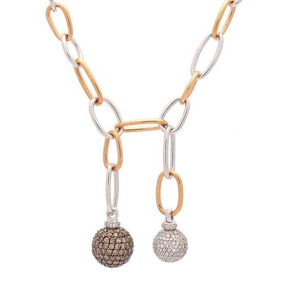Gargantilla de oro bicolor con diamantes - 1