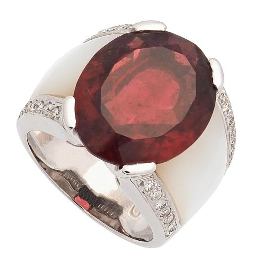 Sortija con Turmalina roja y diamantes - 1