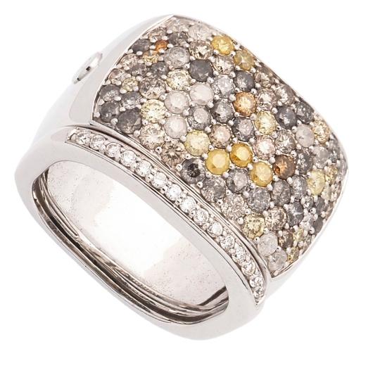 Sortija de oro blanco y diamantes de colores - 1