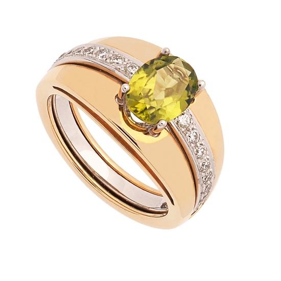 Sortija desmontable de oro amarillo y blanco con peridoto y diamantes - 1