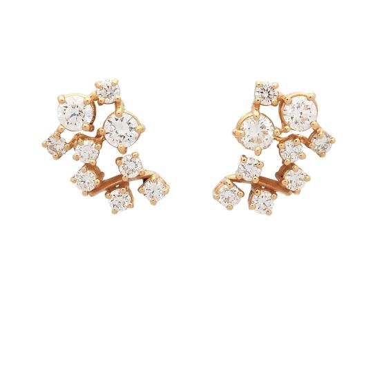Pendientes de oro amarillo y diamantes - 1