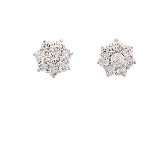 Pendientes rosetón de diamantes - 1