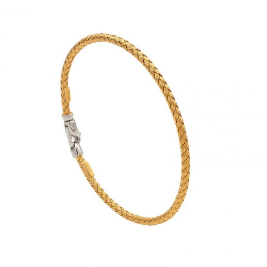 Pulsera de plata dorada trenzada con cierre - 1