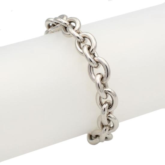 Pulsera cadena grande de plata - 1